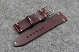Horween Chromexcel Burgundy Side Stitch Leather Watch Strap