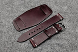 Horween Chromexcel Burgundy Unlined Side Stitch Leather Bund Watch Strap