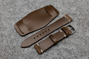 Horween Chromexcel Natural Unlined Side Stitch Leather Bund Watch Strap