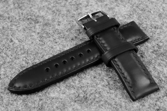 Horween Chromexcel Black Full Padded Leather Watch Strap