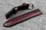 Horween Chromexcel Burgundy Full Padded Leather Watch Strap