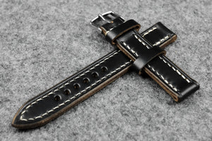 Horween Chromexcel Black Full Stitch Leather Watch Strap