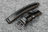 Horween Chromexcel Double Layered Black Full Stitch Watch Strap