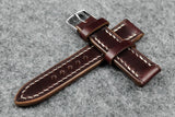 Horween Chromexcel Burgundy Full Stitch Leather Watch Strap