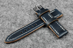 RM: Horween Chromexcel Navy Full Stitch Leather Watch Strap (19/16)
