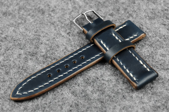 RM: Horween Chromexcel Navy Full Stitch Leather Watch Strap (20/18)