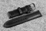 Horween Chromexcel Black Half Padded Leather Watch Strap
