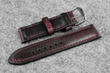 Horween Chromexcel Burgundy Half Padded Leather Watch Strap