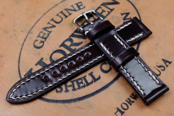 NEW: Horween Shell Cordovan No.8 Burgundy Full Stitch Leather Watch Strap