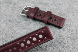 Horween Chromexcel Burgundy Racing Leather Watch Strap