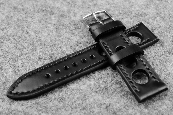 RM: Horween Chromexcel Black Rally Leather Watch Strap (22/20)