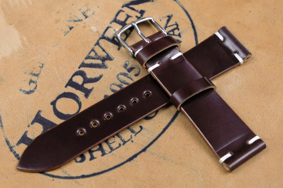New: Horween Shell Cordovan Colour 6 Unlined Side Stitch Leather Watch Strap