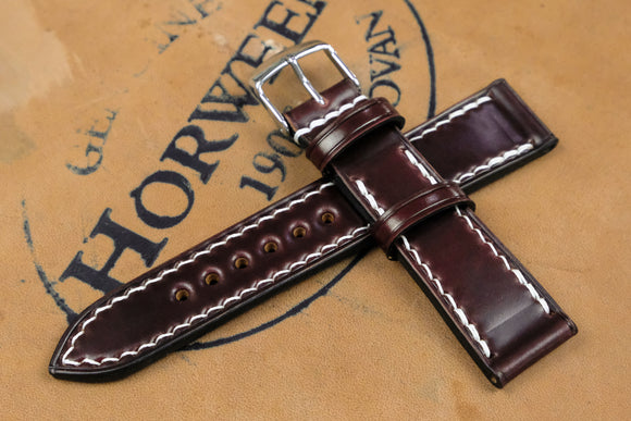Horween Shell Cordovan Colour 6 Full Stitch Leather Watch Strap