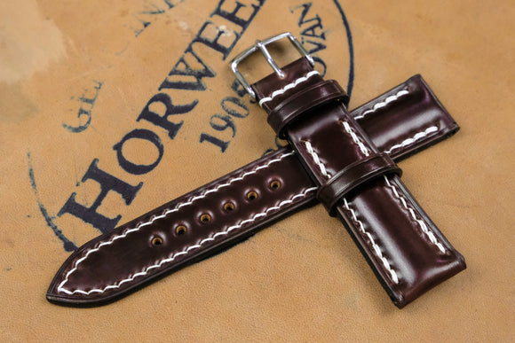 New: Horween Shell Cordovan Colour 6 Half Padded Leather Watch Strap