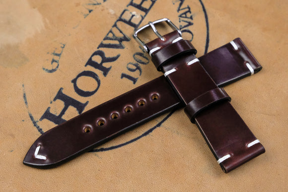 New: Horween Shell Cordovan Colour 6 Side Stitch Leather Watch Strap