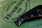 Horween Shell Cordovan Black Unlined Side Stitch Leather Watch Strap
