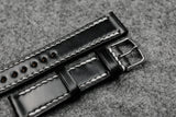 RM: Horween Shell Cordovan Black Full Stitch Watch Strap (20/18)