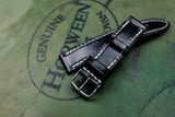 Horween Shell Cordovan Black Full Stitch Leather Watch Strap