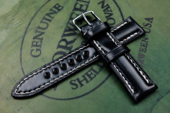Horween Shell Cordovan Black Half Padded Leather Watch Strap