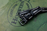 NEW: Horween Shell Cordovan Black Half Padded Leather Watch Strap
