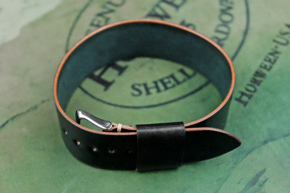 Horween Shell Cordovan Black Wide Pass Through Strap