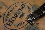 Horween Shell Cordovan Deep Dark Brown Unlined Side Stitch Leather Watch Strap
