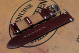 NEW: Horween Shell Cordovan Garnet Unlined Side Stitch Leather Watch Strap