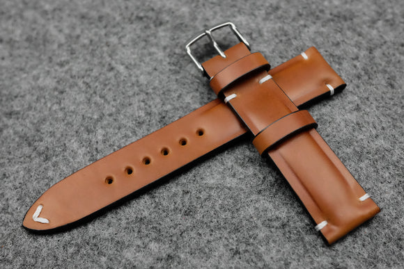 RM: Horween Shell Cordovan Natural Half Padded Watch Strap (20/18)