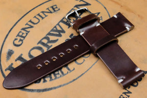 NEW: Horween Shell Cordovan No.4 Brown Unlined Side Stitch Leather Watch Strap
