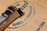 Horween Shell Cordovan Colour 4 Unlined Side Stitch Leather Watch Strap