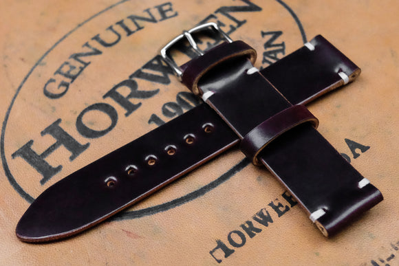 NEW: Horween Shell Cordovan No.8 Burgundy Unlined Side Stitch Leather Watch Strap