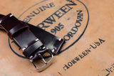 Horween Shell Cordovan No.8 Burgundy Unlined Side Stitch Leather Watch Strap