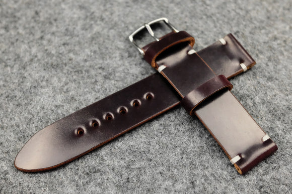 RM: Horween Shell Cordovan No.8 Burgundy Unlined Watch Strap (20/20)