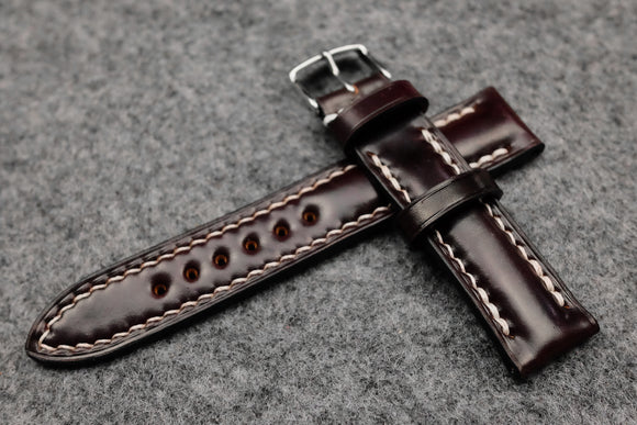 RM: Horween Shell Cordovan Colour 8 Half Padded Watch Strap (20/18)