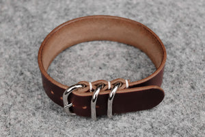 THOS Horween Chromexcel Burgundy 3 Ring Pass Through Leather Strap