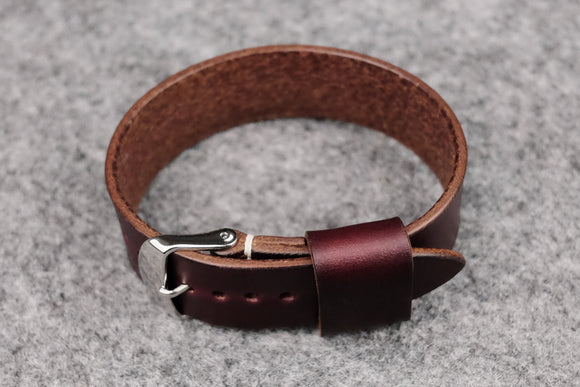 Horween Chromexcel Burgundy Wide Pass Through Leather Strap