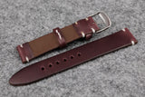 Horween Chromexcel Burgundy Unlined Side Stitch Leather Watch Strap
