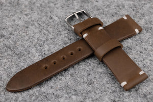 Horween Chromexcel Natural Unlined Side Stitch Leather Watch Strap
