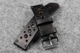 Horween Chromexcel Black Unlined Racing Leather Watch Strap