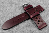 Horween Chromexcel Burgundy Unlined Racing Leather Watch Strap