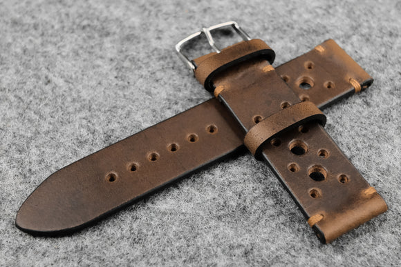 Horween Chromexcel Natural Unlined Racing Leather Watch Strap