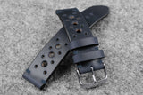 Horween Chromexcel Navy Unlined Racing Leather Watch Strap