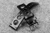 Horween Chromexcel Black Unlined Rally Leather Watch Strap