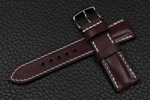 Italian Burgundy Half Padded Leather Watch Strap