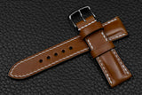 Italian Chestnut Half Padded Leather Watch Strap