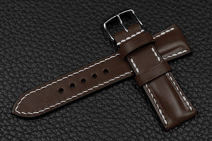 Italian Espresso Half Padded Leather Watch Strap