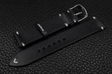 Italian Black Side Stitch Leather Watch Strap