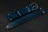 Italian Blue Side Stitch Leather Watch Strap