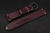 Italian Burgundy Side Stitch Leather Watch Strap