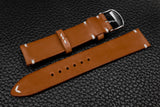 Italian Chestnut Side Stitch Leather Watch Strap